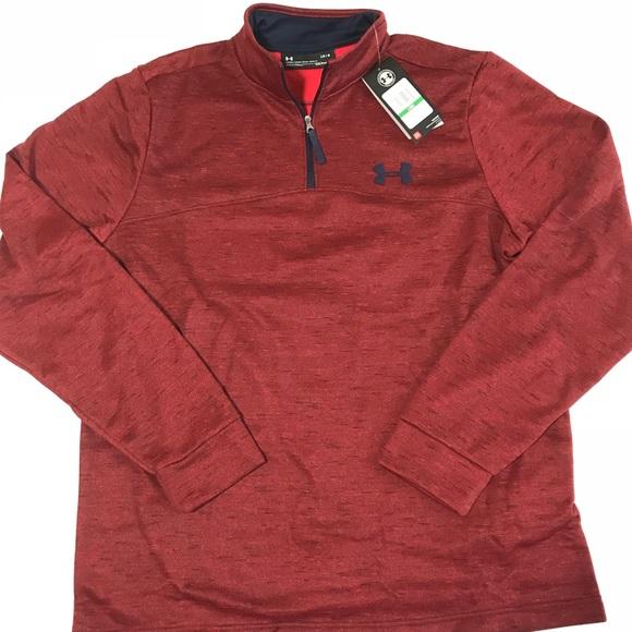 Under Armour Men/'s Raisin Red UA Storm Armour Fleece 1//4 Zip Hooded Sweater